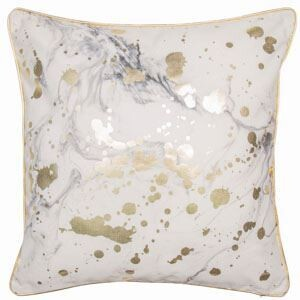 White and gold marble effect Cushion
