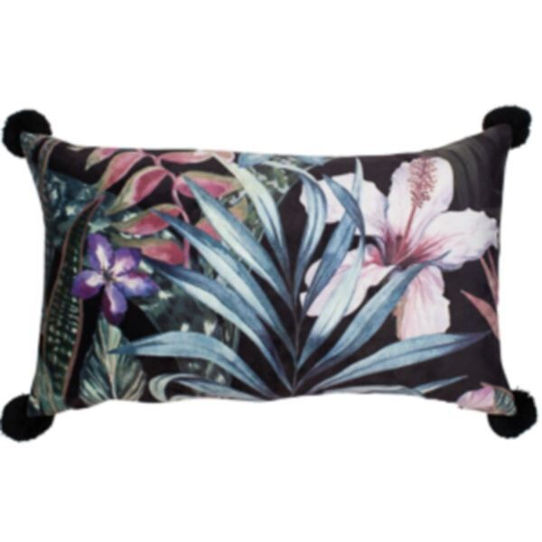 Black Velvet Floral Cushion