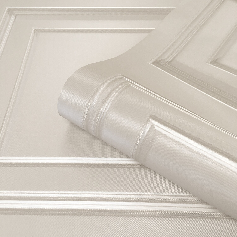 Amara Panelling Cream/Ivory Wallpaper