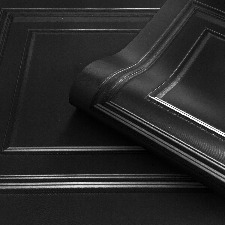 Amara Panelling Black Wallpaper