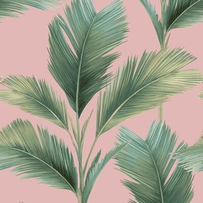 Kailani Wallpaper - Pink Palm Leaf