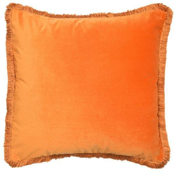 Neon Orange Cushion with fringe