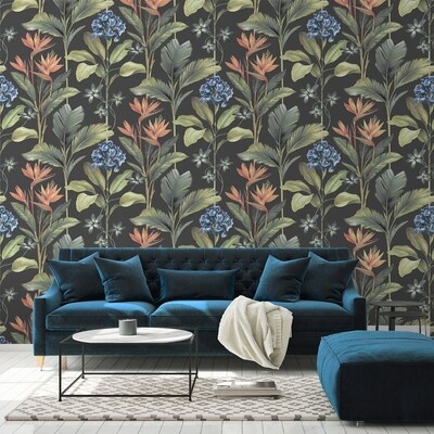 Oliana Floral Charcoal Wallpaper