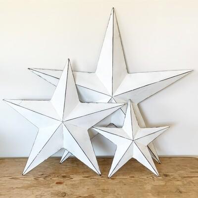 Vintage White Metal Barn Star - 32cm