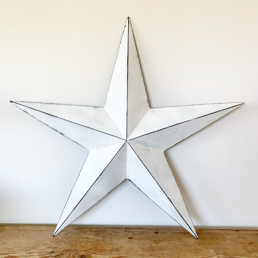 Vintage White Metal Barn Star - 52cm
