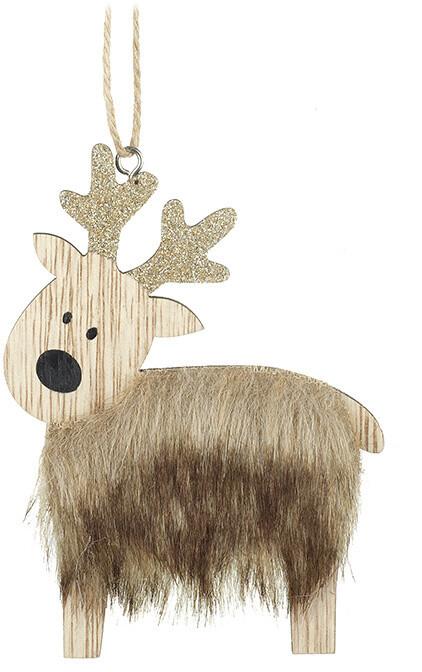 Brown Fur Reindeer Hanging Decoration