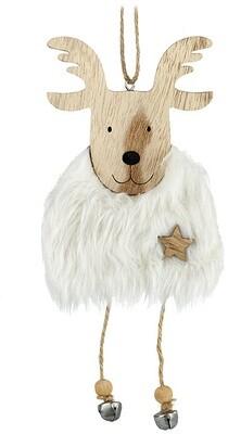 White Fur Reindeer Hanging Decoration