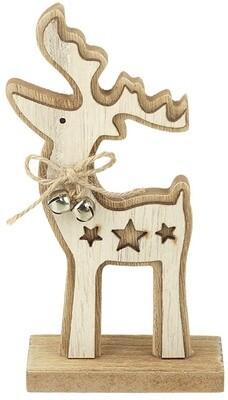 Natural Wooden Reindeer Decoration