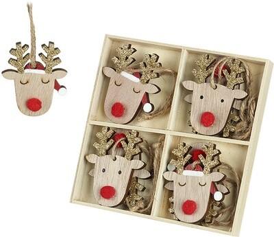 Pack of 8 Wooden Reindeer Tree Decorations