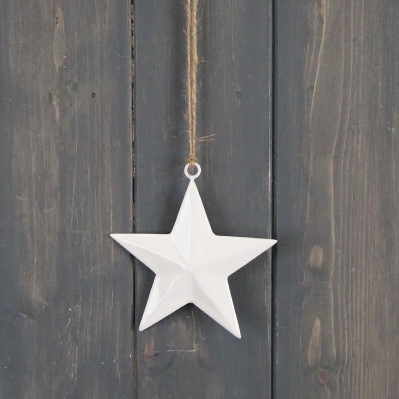Simple White Star Hanger - 10cm