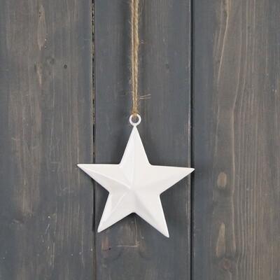 Simple White Star Hanger - 12cm