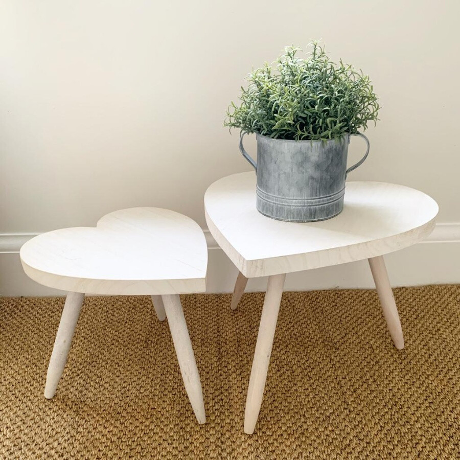 Heart Table with White Wash Finish