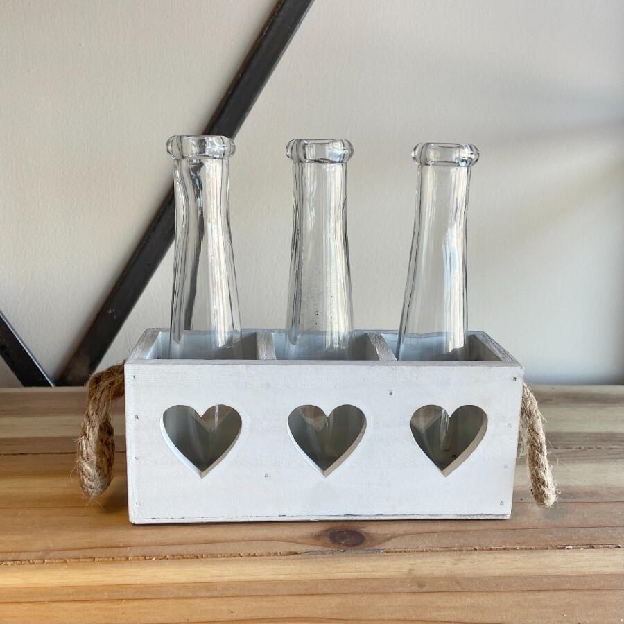 Triple bud vase in Wooden Heart Tray