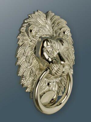 Brass Lion door knocker in Nickel Finish
