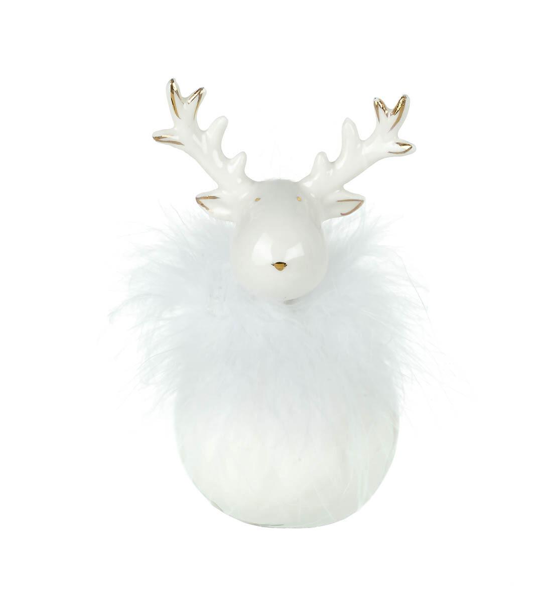 Porcelain Reindeer with Fluffy Trim