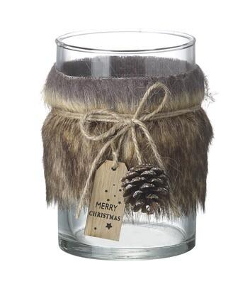 Grey Fur Candle Holder
