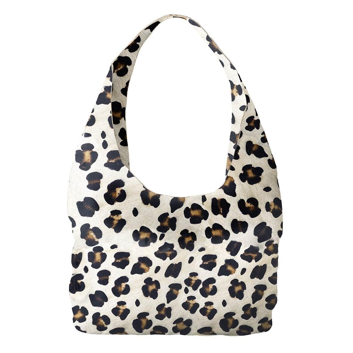 Leopard Print Suede Handbag