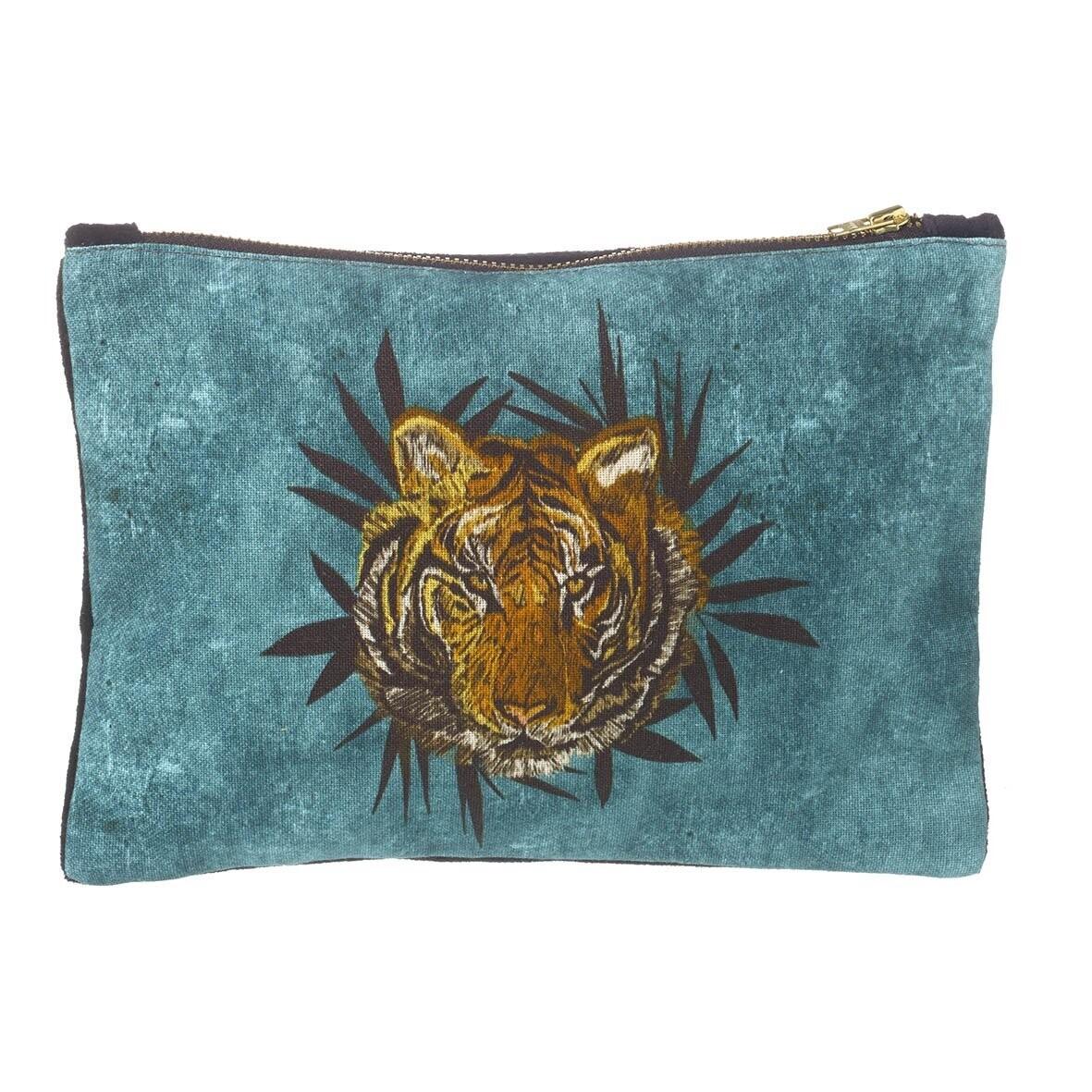 Tiger Face Cotton Bag - Teal