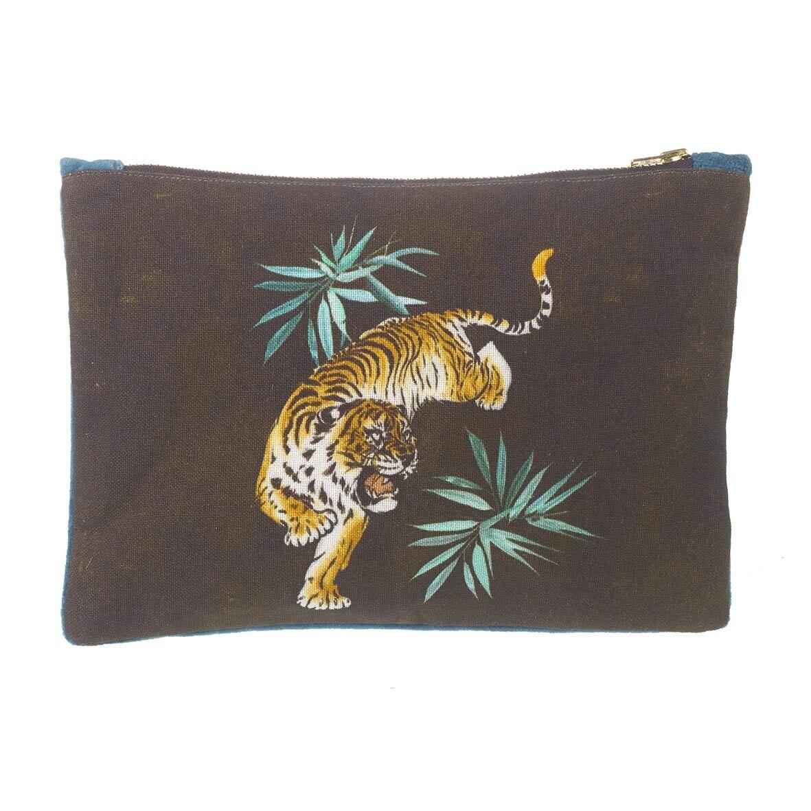 Stalking Tiger Cotton Bag - Black/Teal