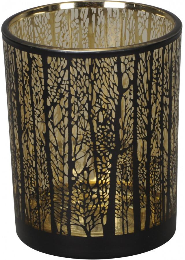 Forest Tealight Holder - Black & Gold - Large