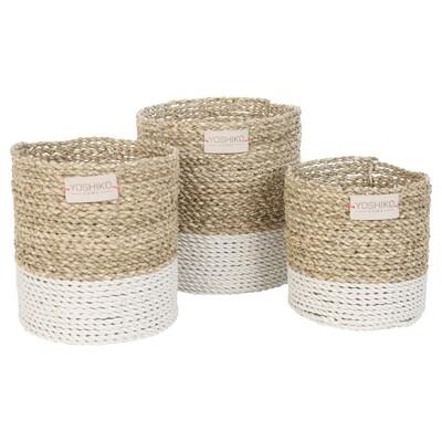 Seagrass Basket Large - White/Natural