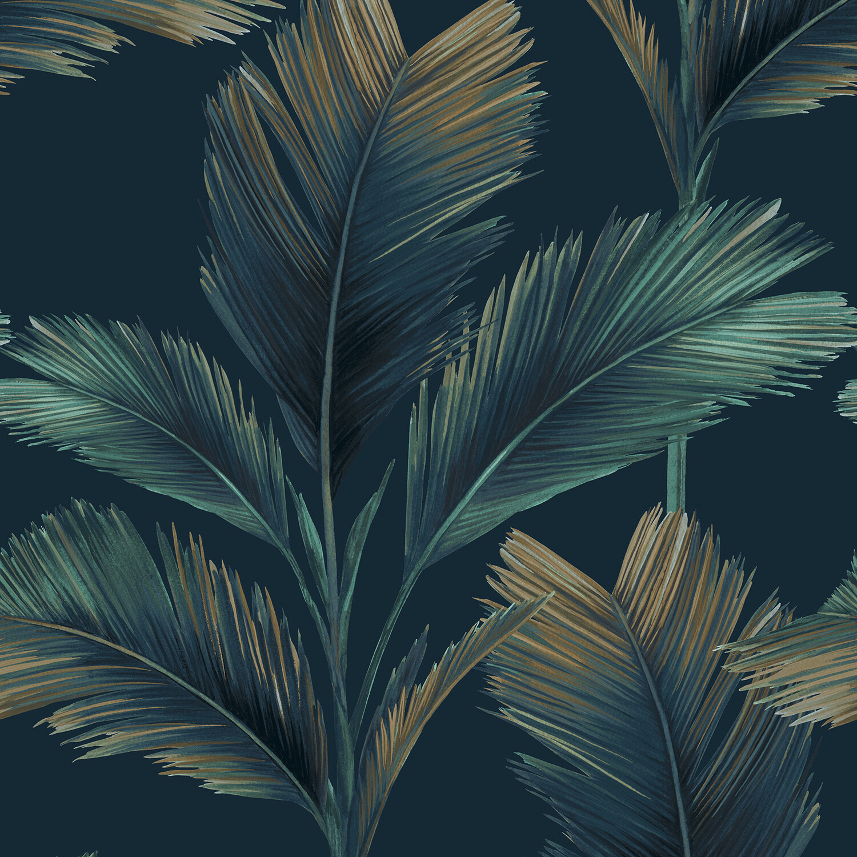 Kailani Wallpaper -  Dark Blue Palm Leaf