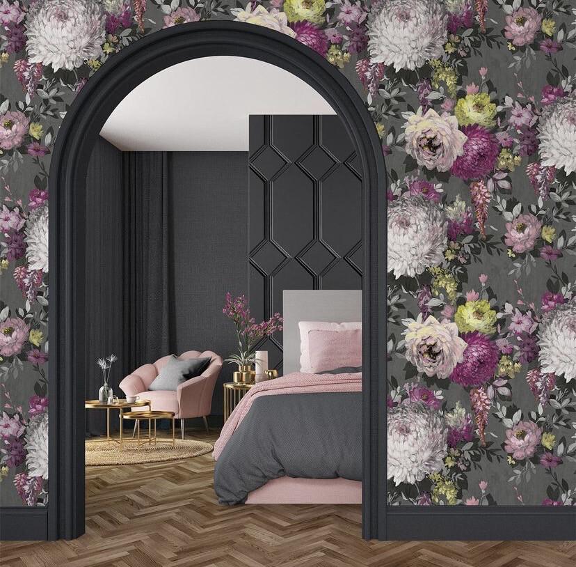 Azzura Floral Wallpaper -  Charcoal