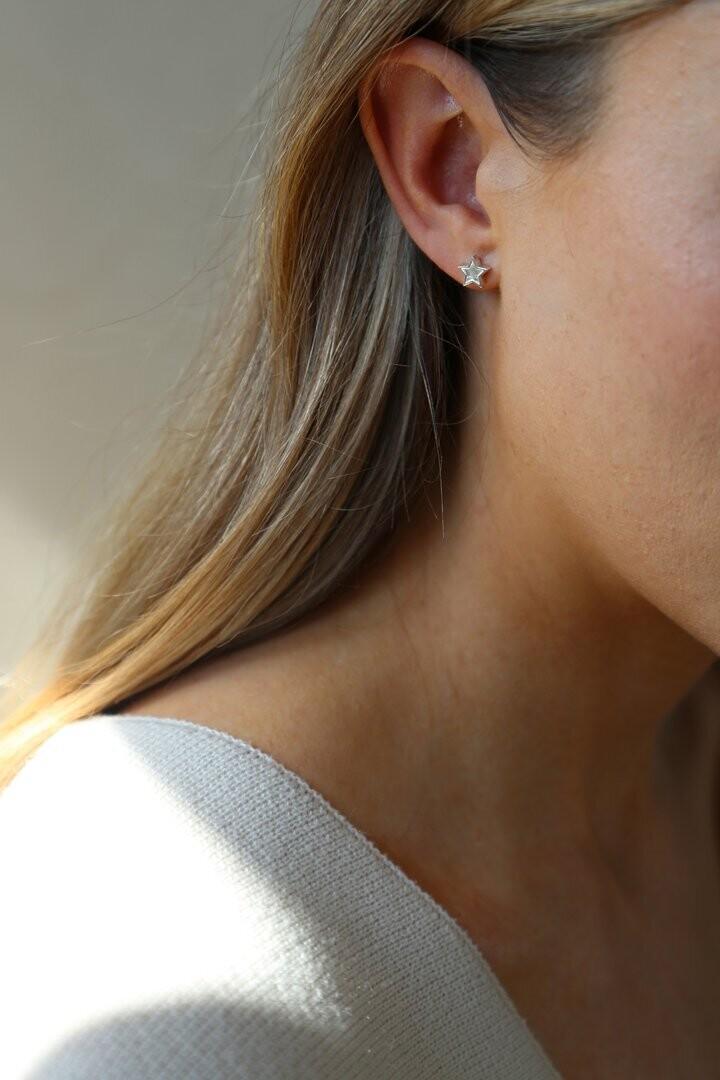 Midnight Earrings Silver Star