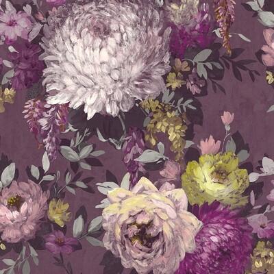 Azzura Floral Wallpaper -  Mulberry