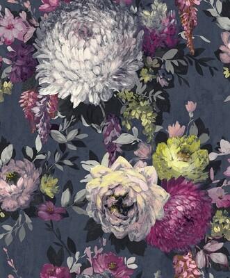 Azzura Floral Wallpaper -  Navy