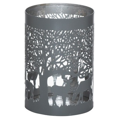 Tall Stag in Forest Tealight Holder - Grey & Silver
