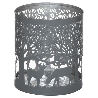 Stag in Forest Tealight Holder - Grey & Silver