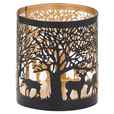 Stag in Forest Tealight Holder - Black & Gold