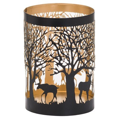 Tall Stag in Forest Tealight Holder - Black & Gold