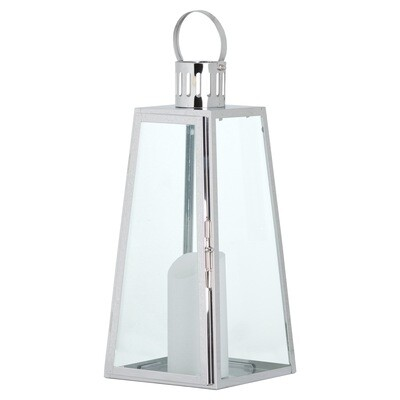 Large Steel Lantern with Flickering Candle