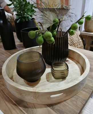 Natural Large Round Timber Tray