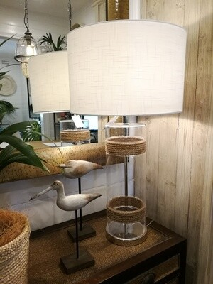 Glass Tall Lamp With Rope Trim