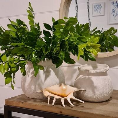 Textured White Orb Vase