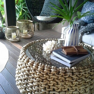 Round Banana Leaf Coffee Table