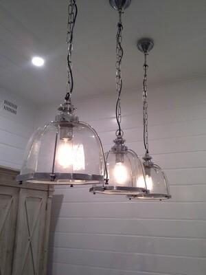 Antique Silver Hand Blown Glass Ceiling Pendant Light
