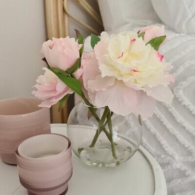 Silk Peonies in Water look Vase