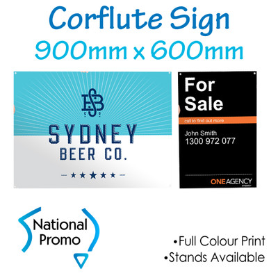 Corflute Sign 900mm W x 600mm H