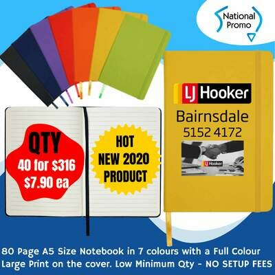 A5 80 Page NOTEBOOK in 7 Colours - QTY of 40