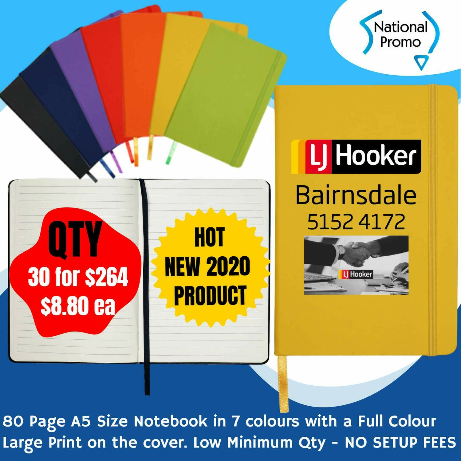 A5 80 Page NOTEBOOK in 7 Colours - QTY of 30