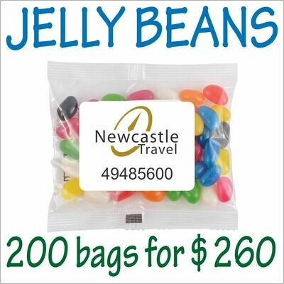 BRANDED 50gm JELLY BEANS PACKS. 200 bags for $260 - FREE DELIVERY