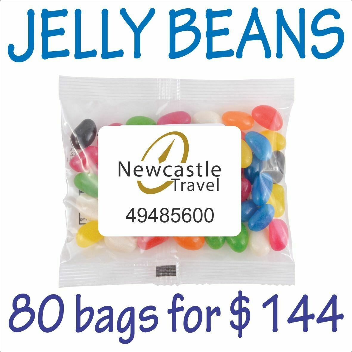 BRANDED 50gm JELLY BEANS PACKS. 80 bags for $144 - FREE DELIVERY