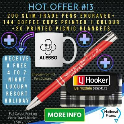 200 SLIM TRADE PENS + 20 PICNIC BLANKETS + 144 x COFFEE MUGS + get a FREE HOLIDAY