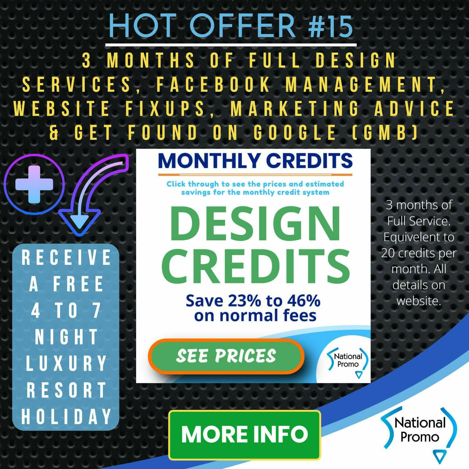3 MONTHS OF DESIGN & WEBSITE SERVICES + get a FREE HOLIDAY