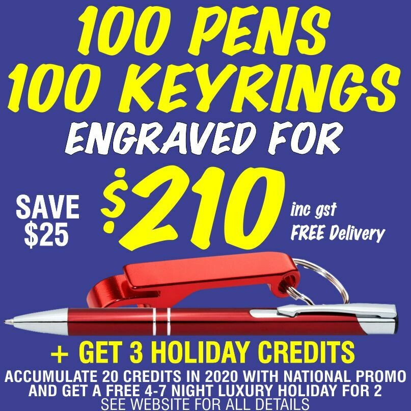 100 Slim Trade Pens & 100 Bottle Opener Keyrings Engraved for $210 FREE DELIVERY