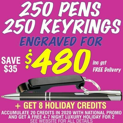 250 Slim Trade Pens & 250 Bottle Opener Keyrings Engraved for $480 FREE DELIVERY